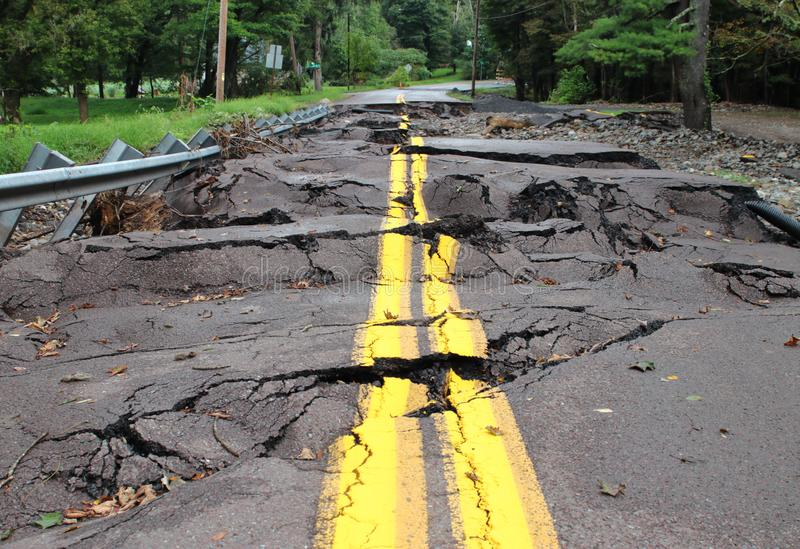 Storm Ruined Road. Road Ruined After Flood And Storms royalty free stock photography