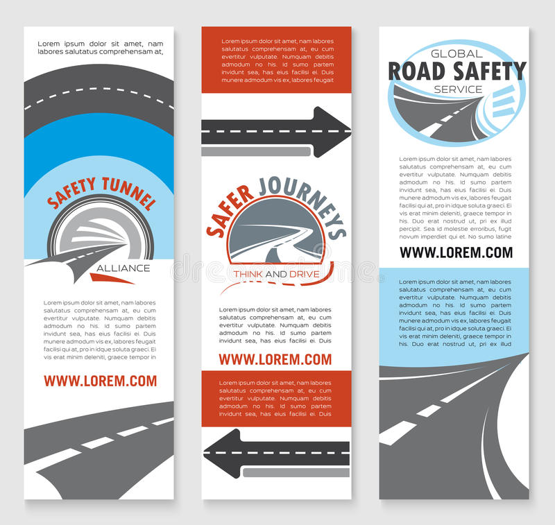 road safety banner template set with highway icons stock vector image 87840011. Black Bedroom Furniture Sets. Home Design Ideas