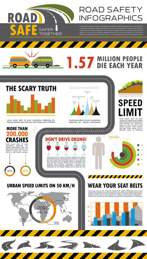 Road Safety Infographics Poster Design Stock Vector
