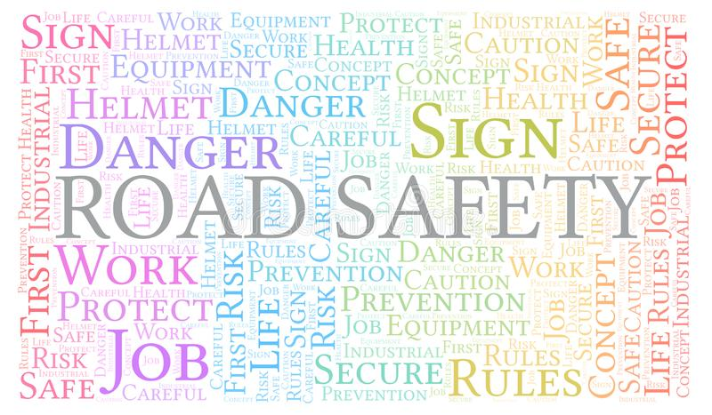 Road Safety word cloud royalty free illustration
