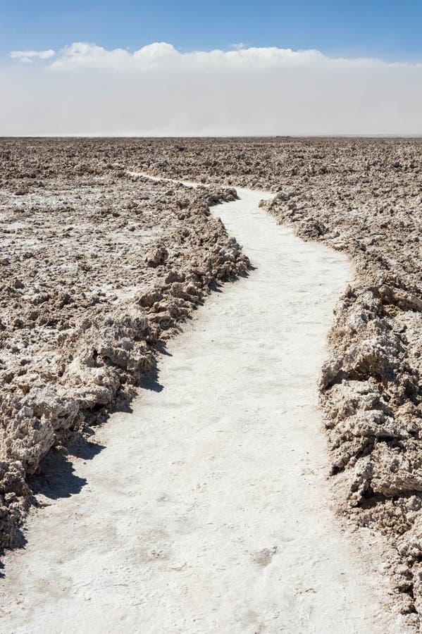 Road at Salar de Atacama, the largest salt flat in Chile Desert of the Atacama, Chile stock photo