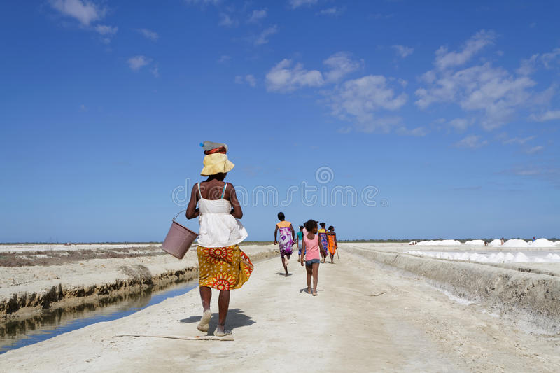 On the road through the salt ponds royalty free stock image