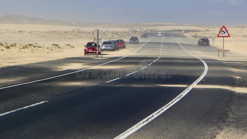 The road in the sand in Fuerteventura stock images