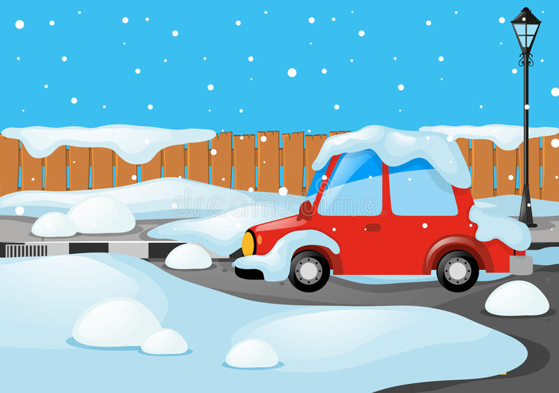 Road Scene With Car Covered By Snow Stock Vector - Illustration of ...
