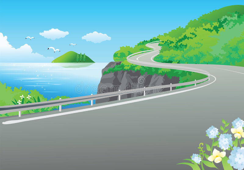 Road at the sea. Illustration with road near sea and mountains vector illustration