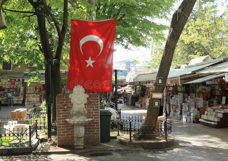 Road with shops by Grand Bazaar in Istanbul royalty free stock photography