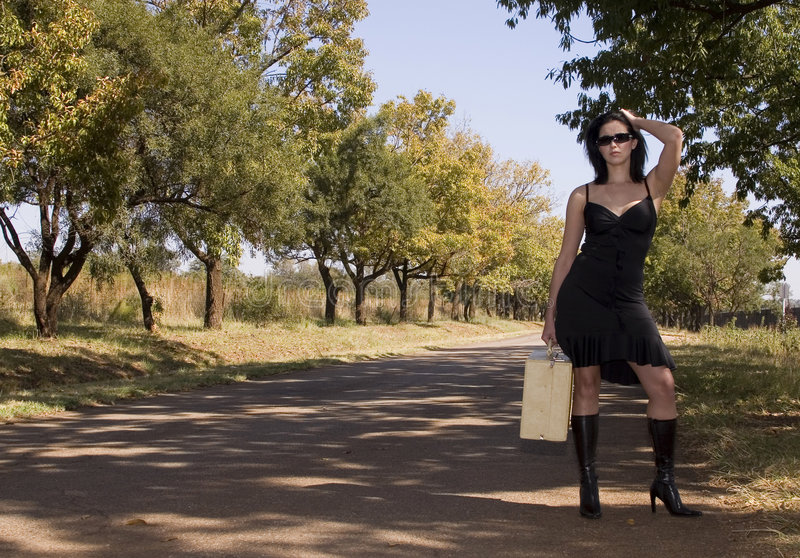 Download Road Side Boots With Suitcase Stock Photo - Image: 2327306