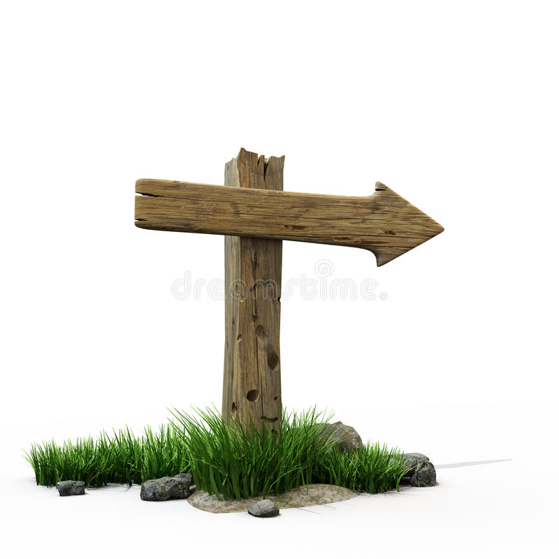 Road sign. The old wooden road sign and a few stones and the grass at its base vector illustration
