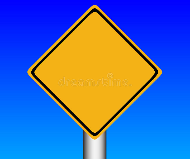 Road sign. Illustration of the road sign over blue background. There are empty space for your text stock illustration
