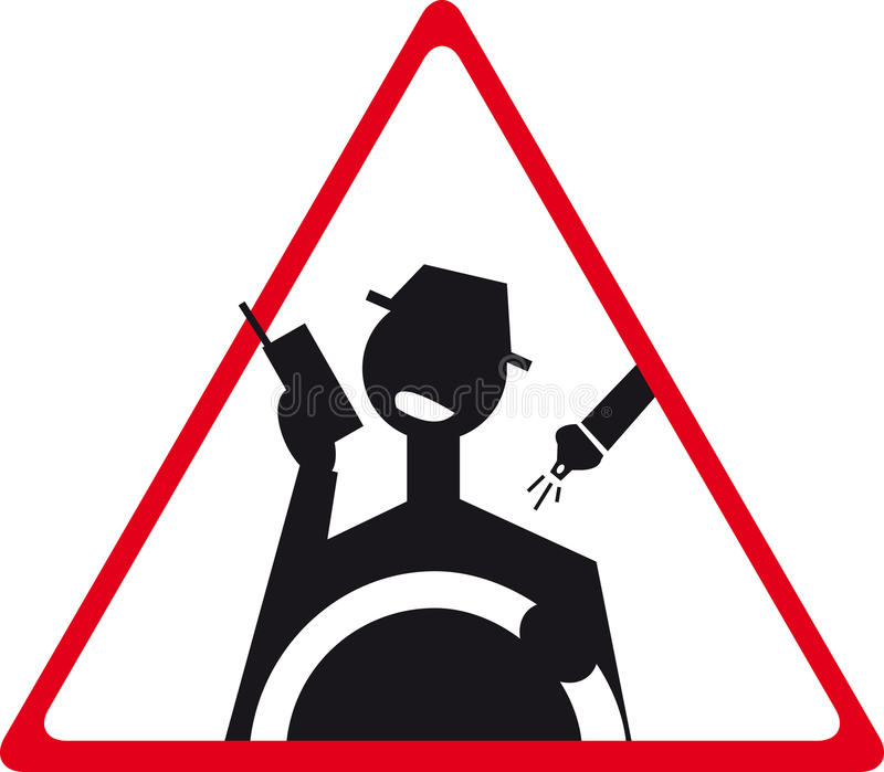 Road sign. A illustration that symbolizes a road sign which prohibits driving and talking on mobile phone safety belt undone royalty free illustration