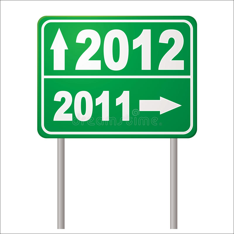 Road sign 2012. Two thousand and twelve road sign to show in the new year in green vector illustration