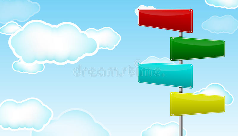 Road sign. Colorful blank road sign with cloud vector illustration