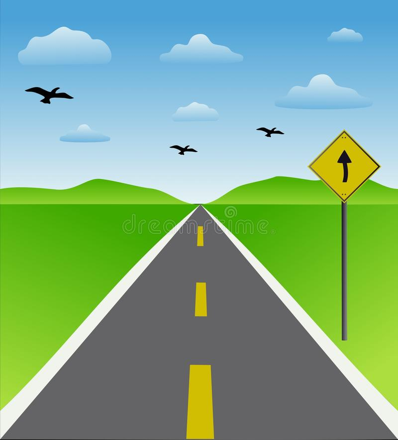 Road with sign. A road sign showing proper direction stock illustration