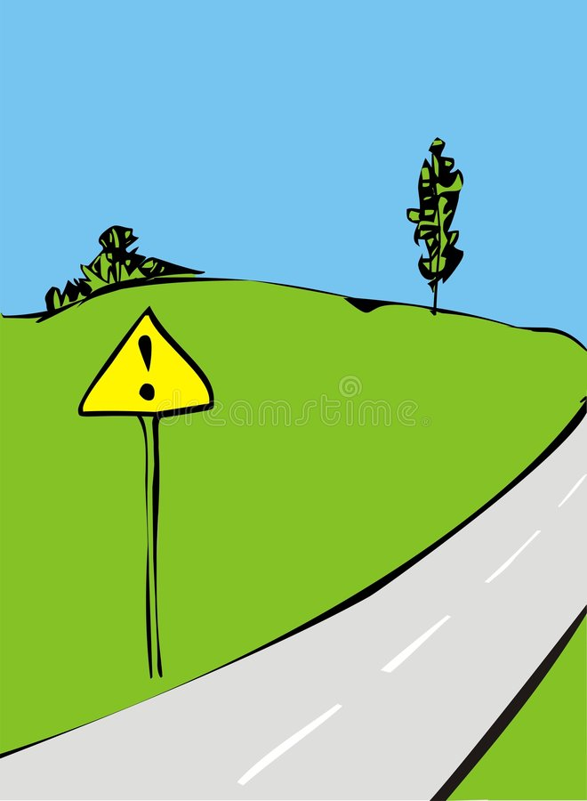 Road with sign. Some road to... Traffic sign stock illustration