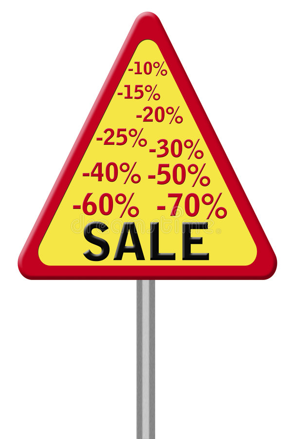 Road sign. With percents and the word sale vector illustration