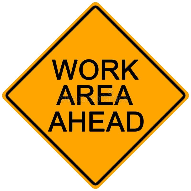 Road Sign. Orange road sign - work area ahead -illustration royalty free illustration