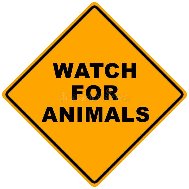 Road Sign. Orange road sign watch for animals -illustration stock illustration