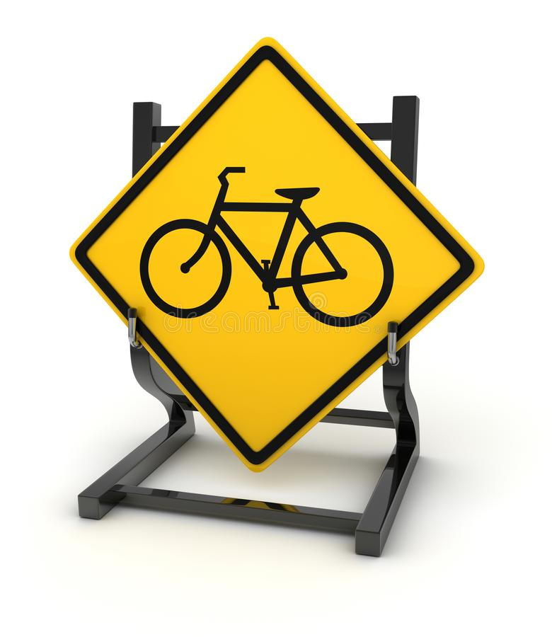 Road sign - bicycle. This is a computer generated and 3d rendered picture stock illustration