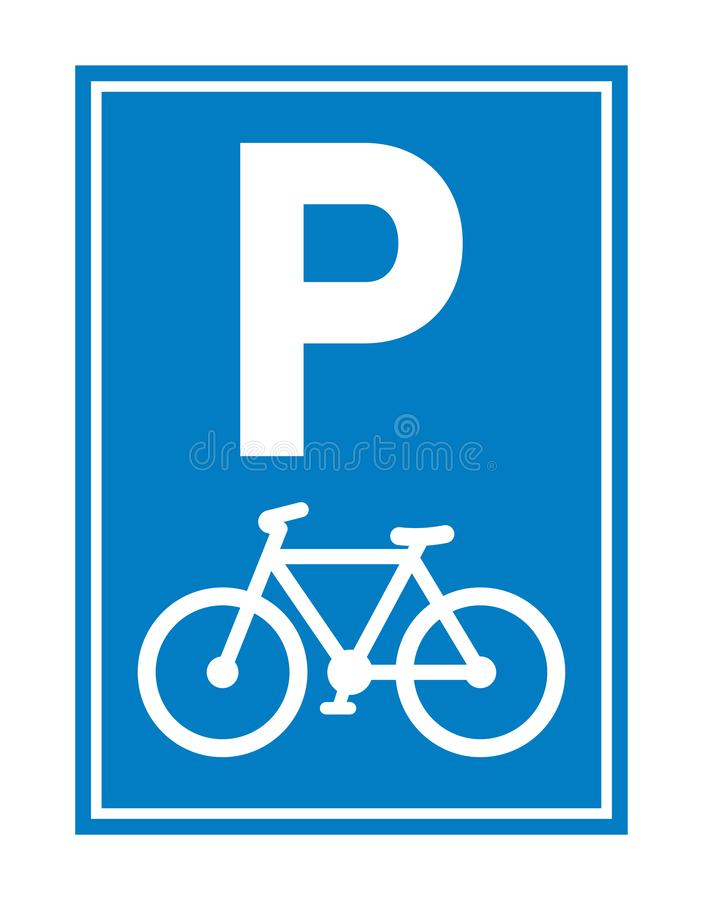 Road sign. Bicycle parking. Parking regulation symbol. Vector illustration royalty free illustration