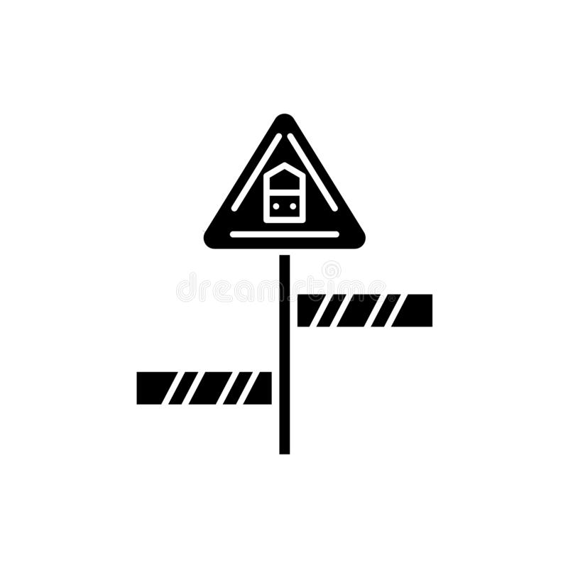 Road sign black icon, vector sign on isolated background. Road sign concept symbol, illustration vector illustration