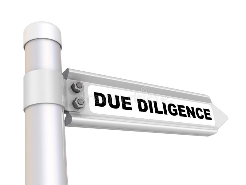 Due diligence. The way mark. Road sign with black text DUE DILIGENCE. Isolated. 3D Illustration stock illustration