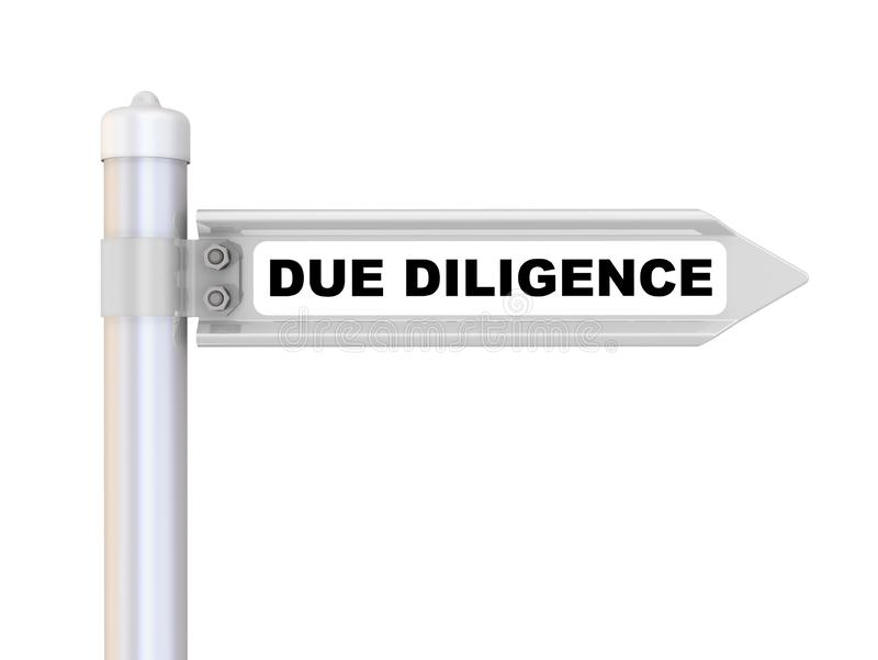 Due diligence. The way mark. Road sign with black text DUE DILIGENCE. Isolated. 3D Illustration royalty free illustration
