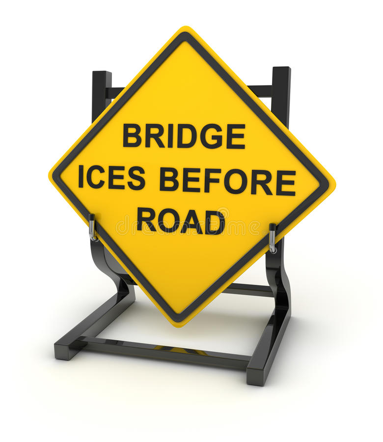 Road sign - bridge ices before road vector illustration