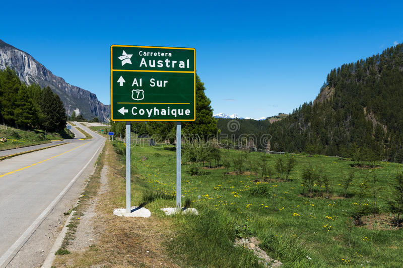 Road Sign in the Carretera Autral near the town of Coyhaique in Chile royalty free stock photo
