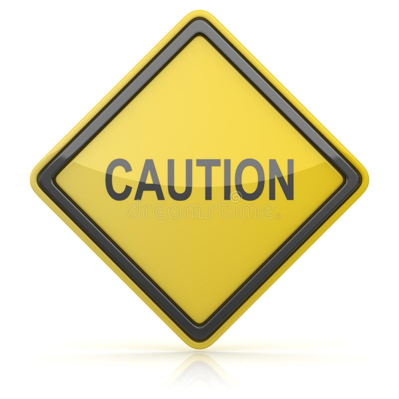 Road Sign - Caution. 3d render stock illustration