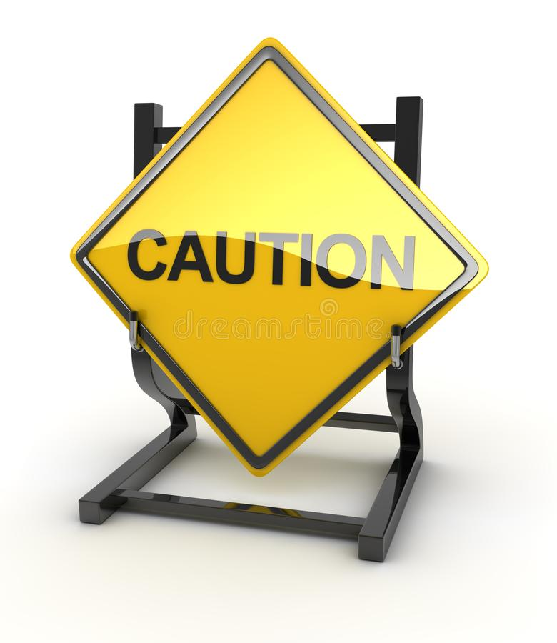 Road sign - caution. Road sign - coution , 3d rendered image vector illustration