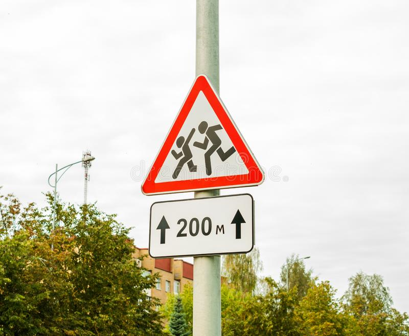 Road sign cautiously children, school. Watch out for Children. Road sign cautiously children, school. Cautiously, children on the road. Watch out for Children royalty free stock image
