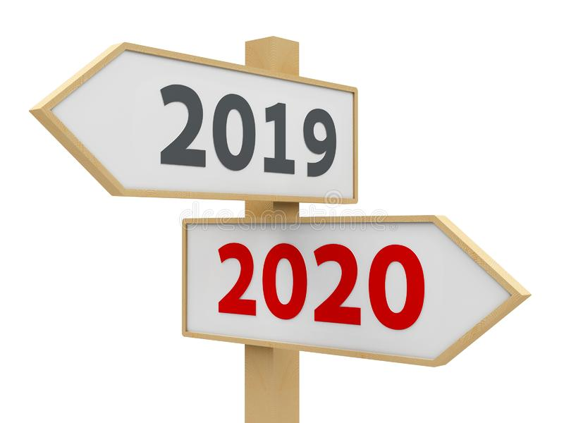 Road sign 2020. Road sign with 2019-2020 change on white background represents the new 2020 year, three-dimensional rendering, 3D illustration stock illustration