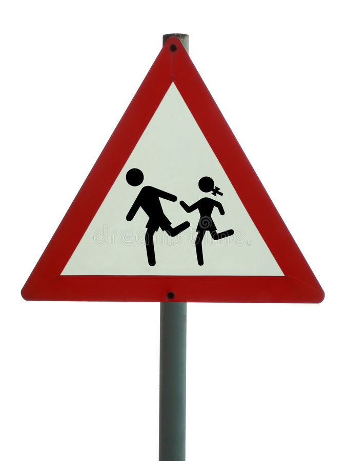 Road sign - children ahead royalty free stock photo