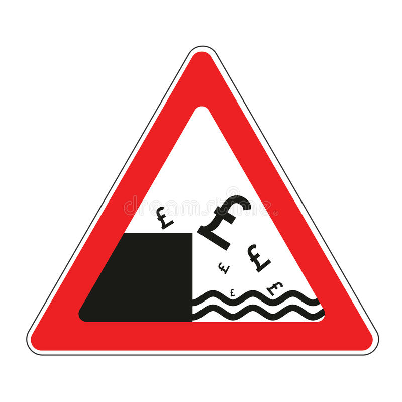 Road sign with concept of declining pound stock illustration