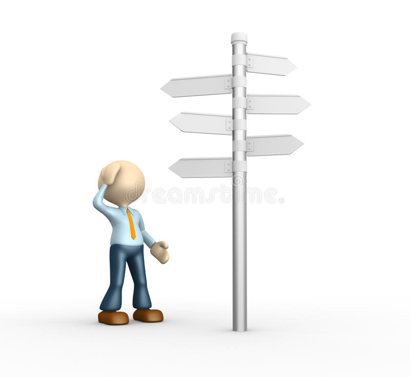 Road sign. 3d people - man, person and road sign. Confused royalty free illustration