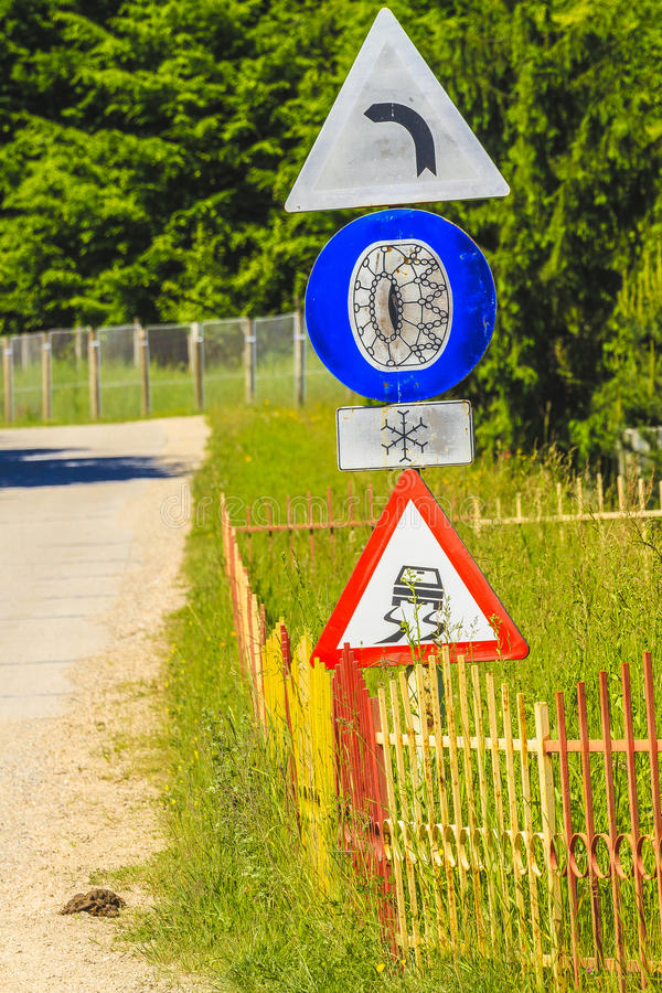 Road sign. Dangerous road signs for winter in Cluj county, Romoania royalty free stock image