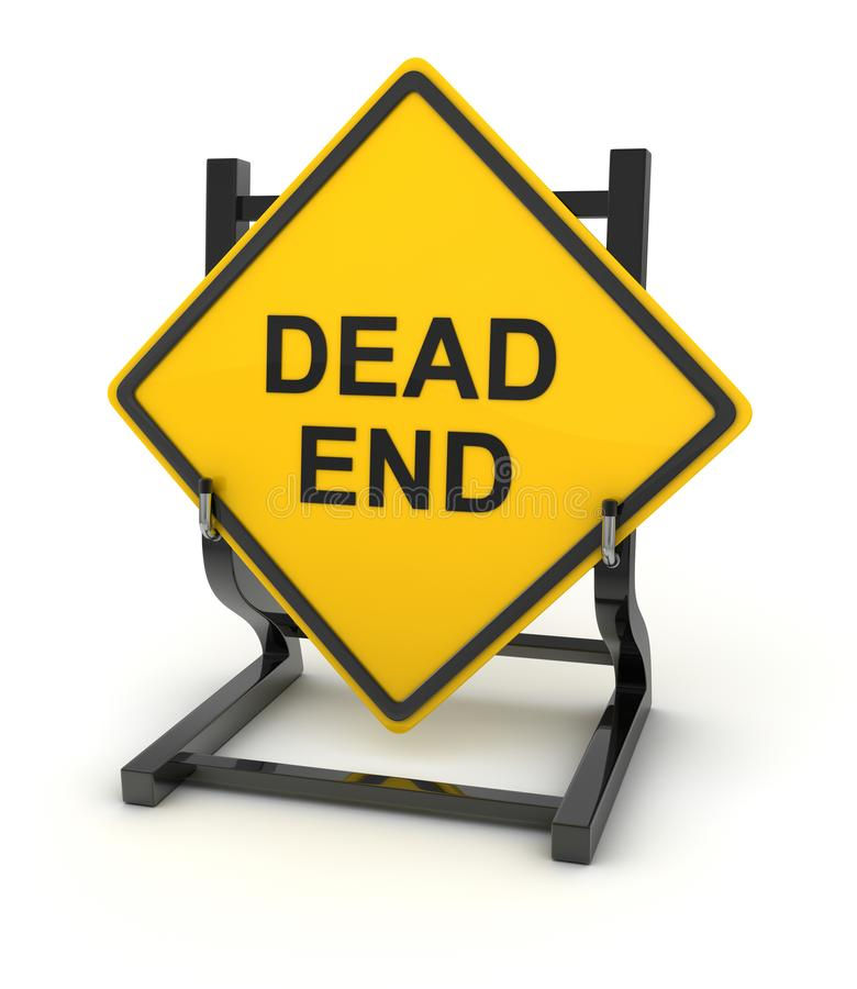 Road sign - dead end. This is a computer generated and 3d rendered picture royalty free illustration