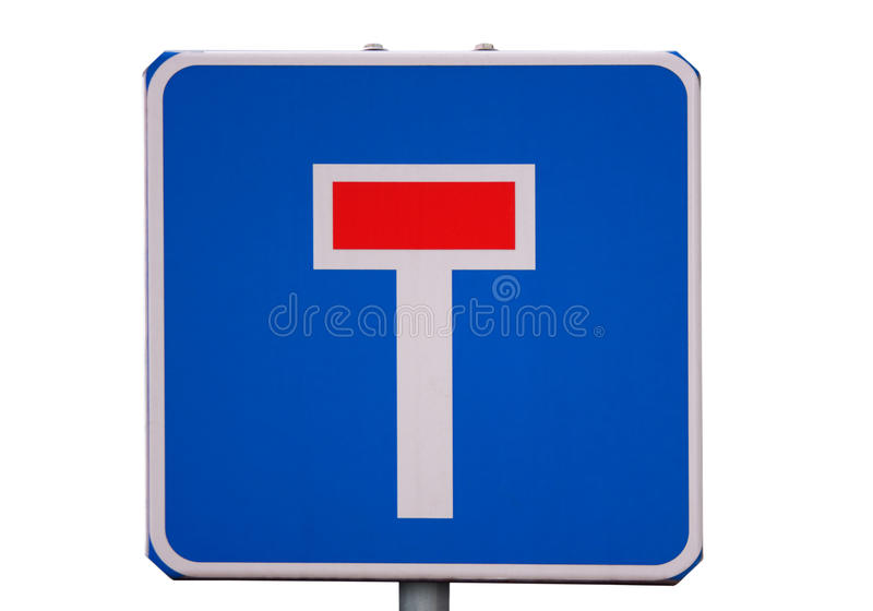 Road sign dead end isolated on white stock photography