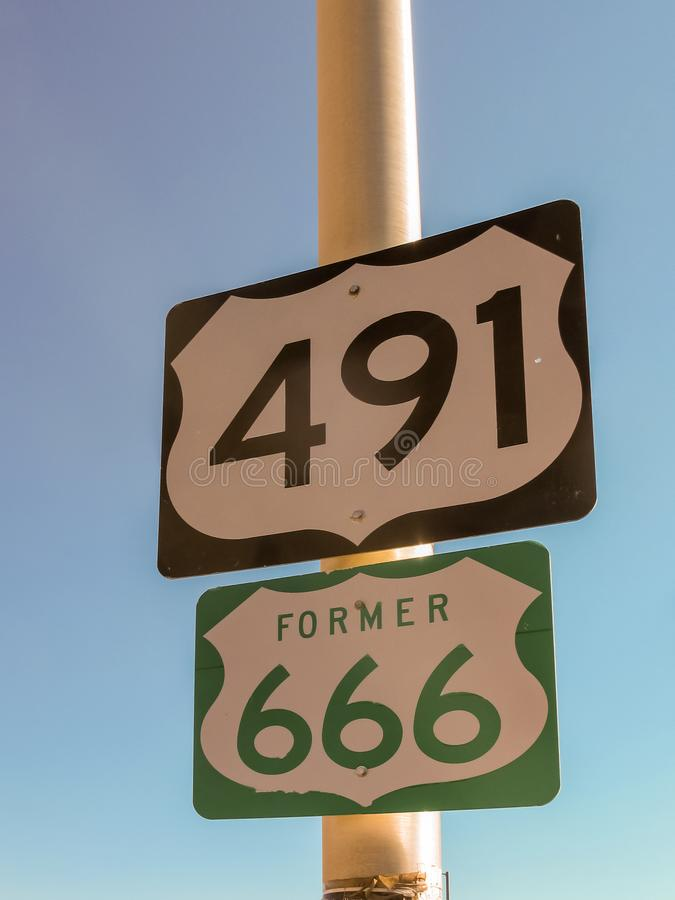 Sign for the Devils Highway Route 666 stock photo