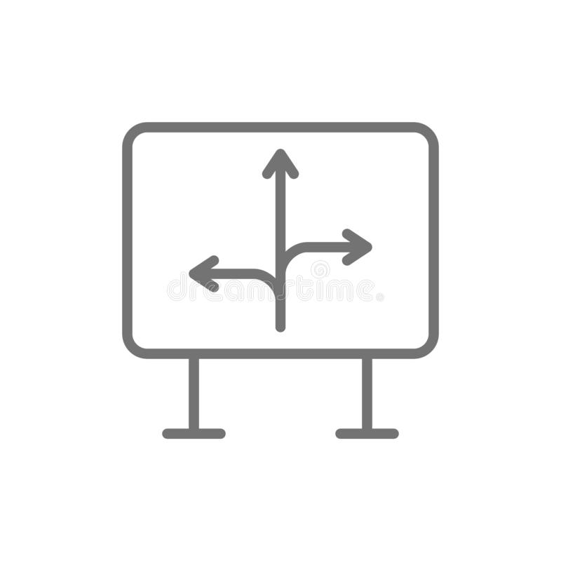 Road sign with different directions, north, west, east, arrows line icon. stock illustration