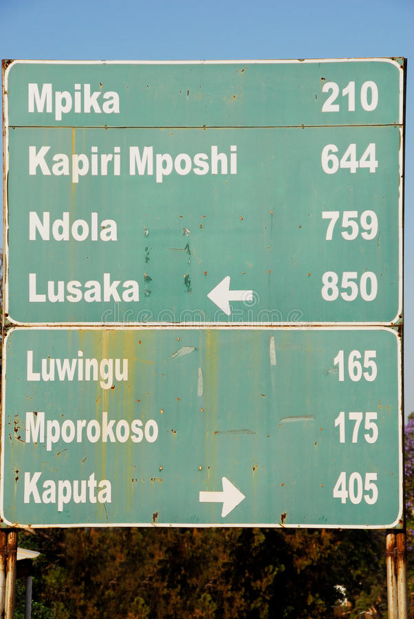 Road sign, direction to different places, Zambia stock photography