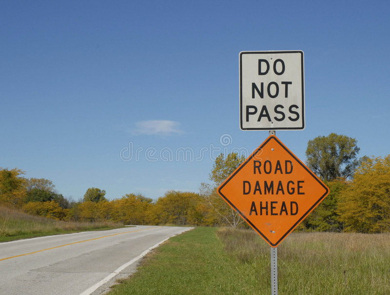 road sign do not pass stock image image of damage sign
