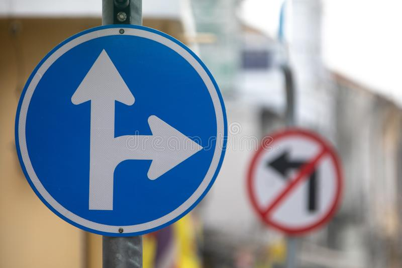 Road sign double arrow forward and to turn right. royalty free stock images