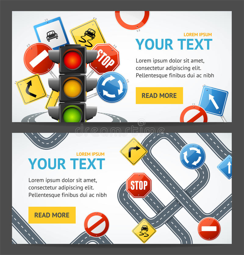 Road Sign Drive School Flyer Banner Posters Card Set. Vector Stock ...
