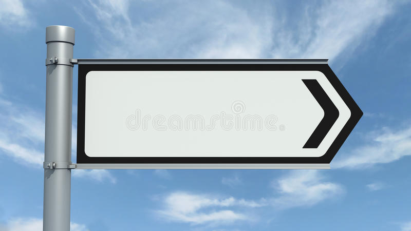 Road Sign - Empty. Road sign over a blue sky - Empty stock illustration