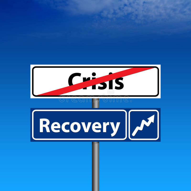 Road Sign The end of crisis, economic recovery royalty free illustration