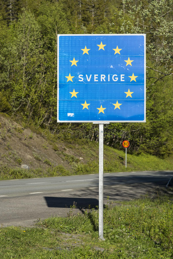 Road sign EU member state Sweden. Road sign at the border to EU member state Sweden (Swedish: Sverige), with Sverige incircled by golden stars on blue background royalty free stock photos