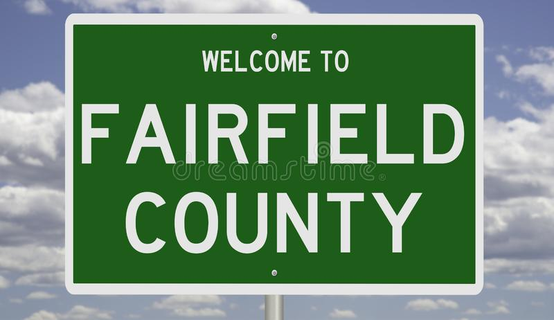 Road sign for Fairfield County. Rendering of a green 3d highway sign for Fairfield County stock photography