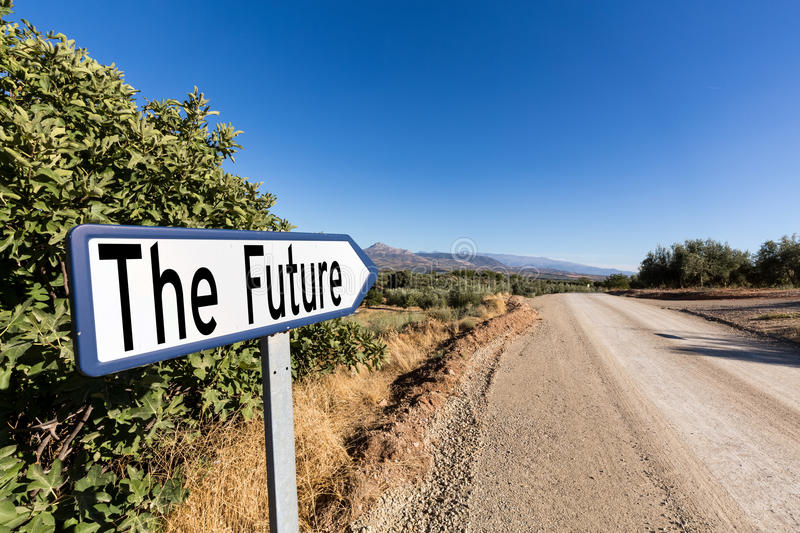 Road sign for the first step to the future stock images