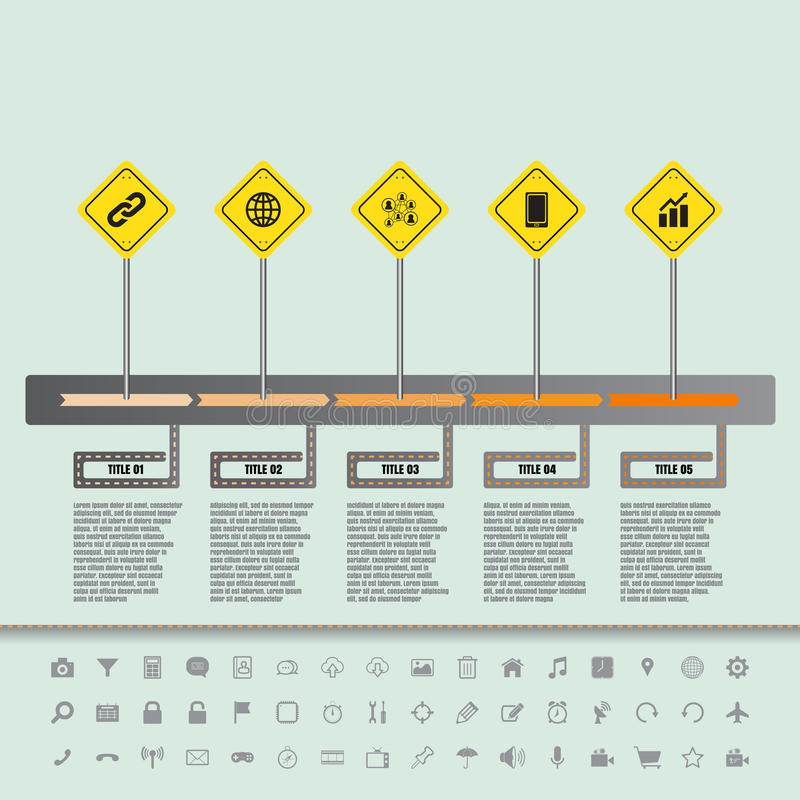 Road sign flat timeline with set of icons. Vector designed template vector illustration